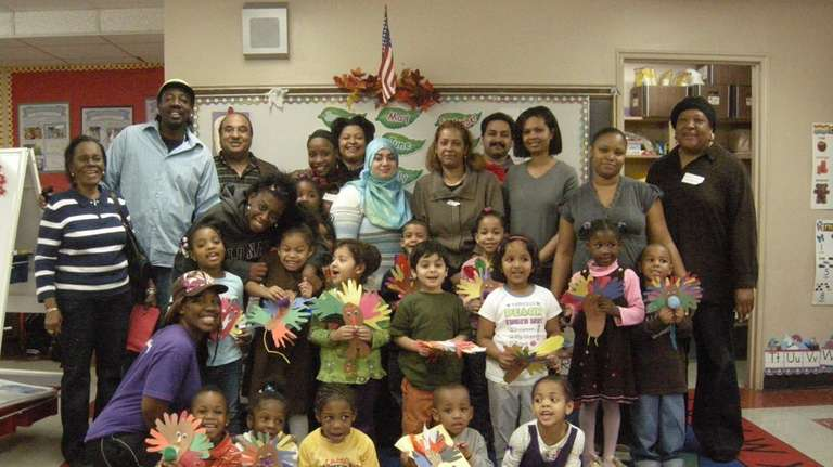 Alden Terrace?s pre-K students proudly show off the