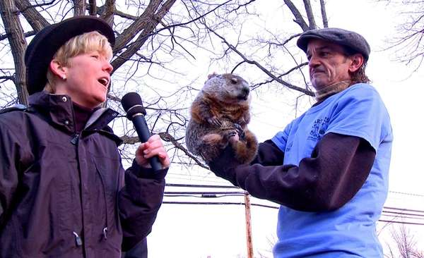 Malverne Mayor Patti McDonald, left, with groundhog 'Mel'