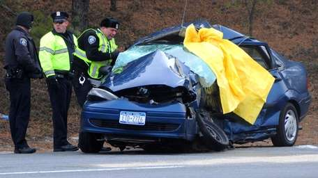 A driver was killed in Riverhead after colliding