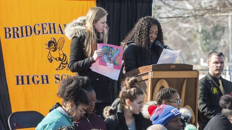 Claudia Patterson, left, and Autumn Street speak about