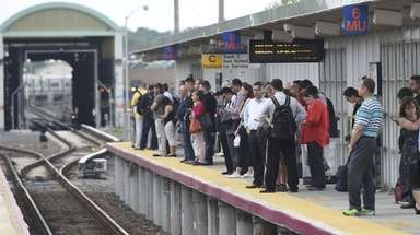 LIRR commuters wait for train to Penn Station