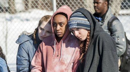 Bridgehampton School students Caleigh Hochstedler, 16, left; Jaden