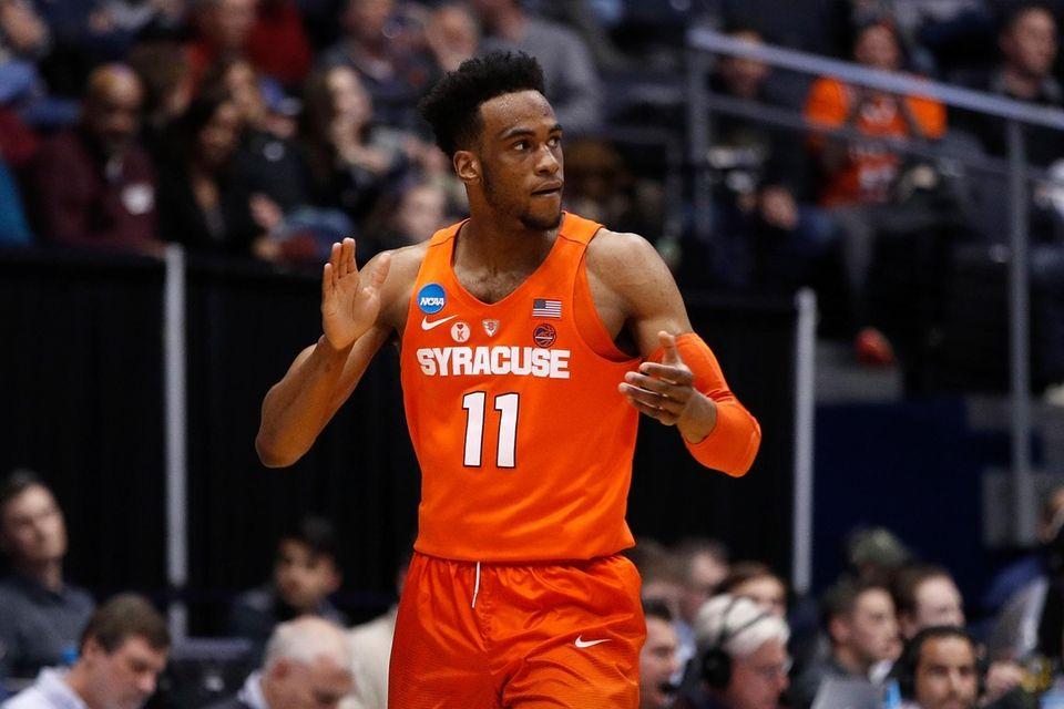 Oshae Brissett of the Syracuse Orange reacts in