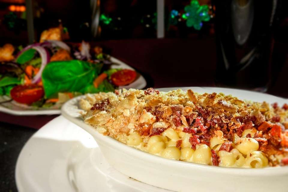 Mac & cheese with corned beef is served