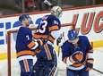 Islanders center Jordan Eberle, goaltender Christopher Gibson and