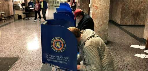 Voters cast ballots in Mineola on Nov. 7,
