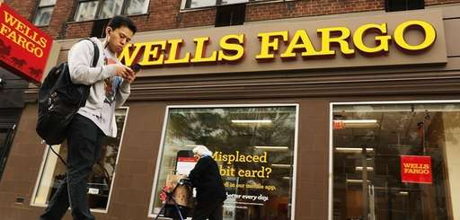 People walk by a Wells Fargo bank branch