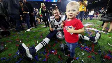 Nate Solder with son Hudson after the Patriots