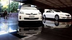 Toyota Motor Corporation's Prius is displayed at their