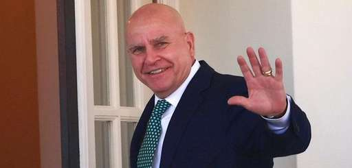 National security adviser H.R. McMaster waves as he
