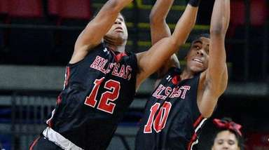 Half Hollow Hills East's Kendall Nero-Clark, left and
