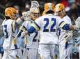 Hofstra players celebrate a goal by Jimmy Yanes