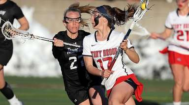 Stony Brook's Kylie Ohlmiller brings the ball from