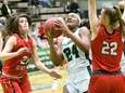 Jamesville-DeWitt's Meg Hair and Jamie Boeheim defend against
