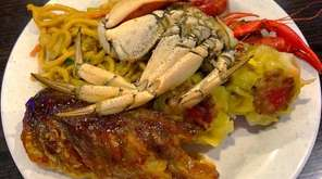 A DIY seafood plate with baked clams, sweet-and-sour