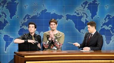 John Mulaney, left, Bill Hader and Colin Jost