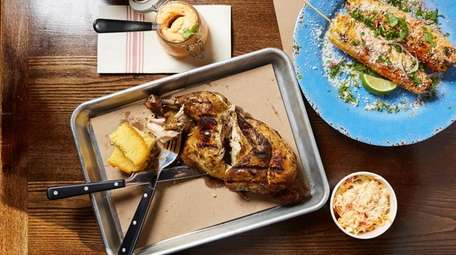 Smoked chicken, cornbread and Mexican street corn at