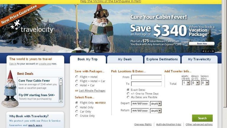Screengrab from website : Travelocity.com