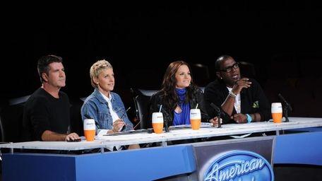 Simon Cowell, left, judges with Ellen DeGeneres, Kara