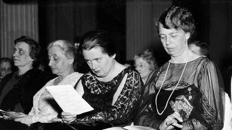 Eleanor Roosevelt, far right, with Lorena Hickok, at
