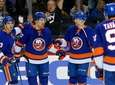 Islanders winger Anders Lee celebrates his third period