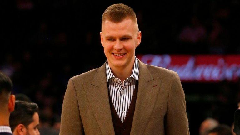 Kristaps Porzingis of the Knicks looks on before