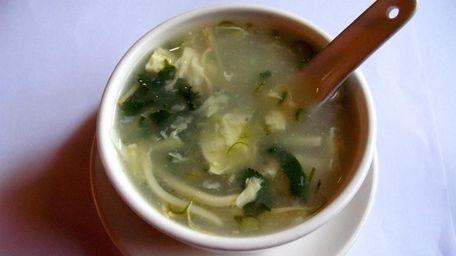 Malaysian coriander soup, served at New Chili &