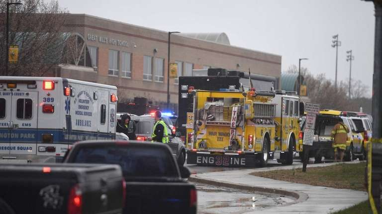 Emergency responders at Great Mills High School in