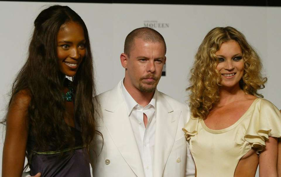 British model Naomi Campbell, designer Alexander McQueen and