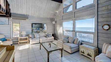 The living room at this Mattituck home features