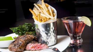 Skirt steak with truffle fries and roasted kale