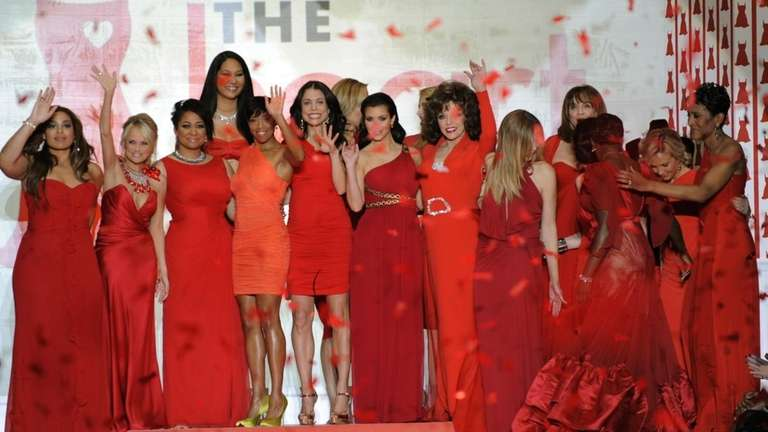 Celebrities model fashions from the Heart Truth Red