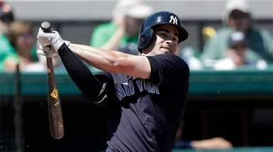 Yankees' Tyler Wade bats against the Detroit Tigers