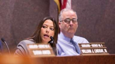 Legislator Monica Martinez speaks at a meeting of