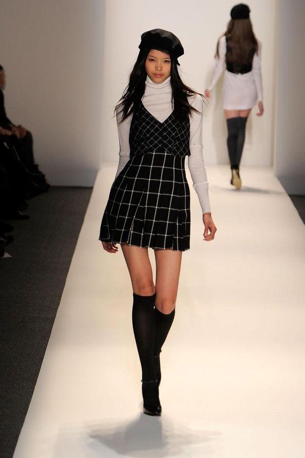 A model walks the runway at Cynthia Steffe