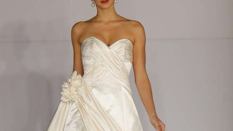 Blush silk satin Anne Barge ball gown with