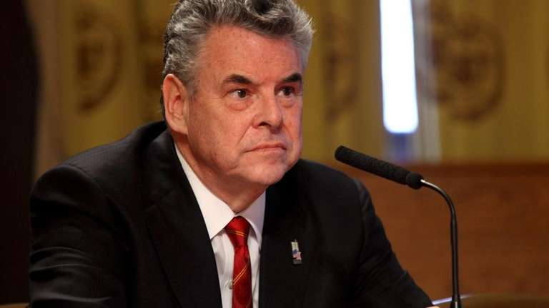Rep. Peter King (R-Seaford) listens to a question