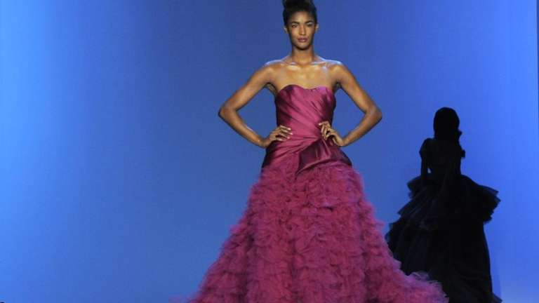 A model display fashions from the Christian Siriano