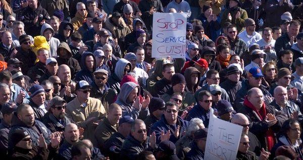 Hundreds of LIRR employees gathered at United Transportation