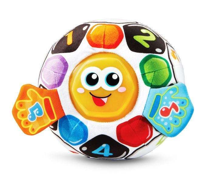 This soft, bright soccer ball introduces opposites and