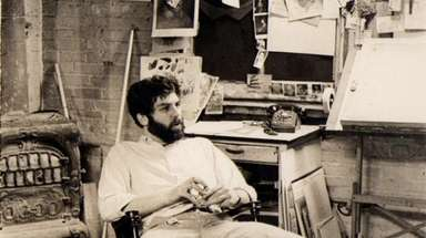 Illustrator Robert Grossman in his Manhattan studio in