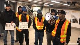 Dozens of current and former transit workers marched Wednesday