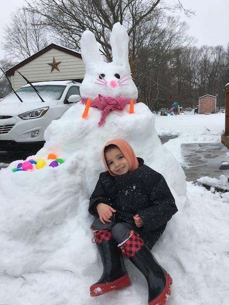 Aiden,5, with his Nor?Easter Bunny