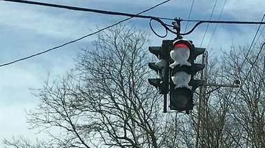 Some traffic signals along New York Avenue in