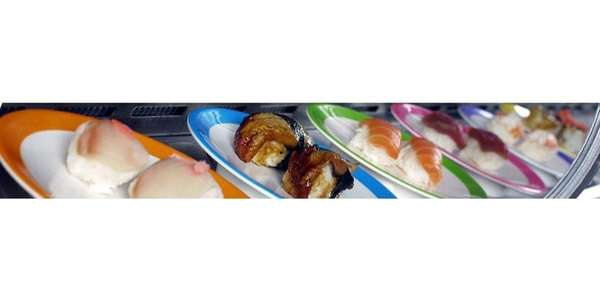 A selection of conveyor-belt sushi at The Carousel