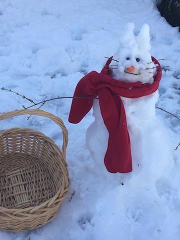 Megan and Lauren built a snowman. Then he