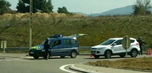 A police vehicle in Trebes, southern France, near