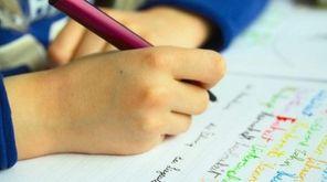 A student doing classwork.