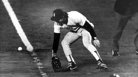 Mookie Wilson's grounder went through the legs of