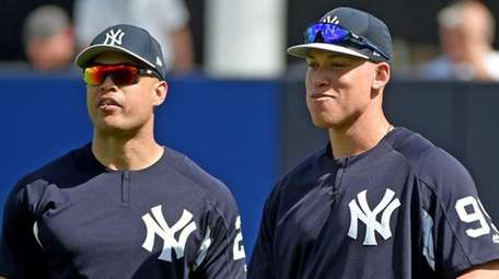Giancarlo Stanton and Aaron Judge at spring training